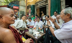 Authors, poets, and cartoonists meet in tea house on Merchant Street in downtown Yangon
