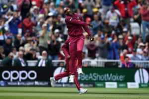 Sheldon Cottrell celebrates after taking the catch to dismiss Steve Smith.