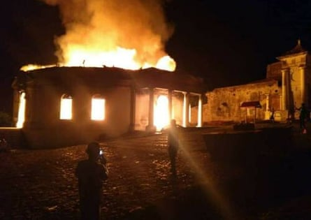 Milot Church on fire, 2am local time on 13 April 2020.