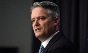 Senator Mathias Cormann speaks to journalists at a press conference at Parliament House in Canberra