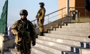 Turkish soldiers stand guard outside the Silivri prison in Istanbul.