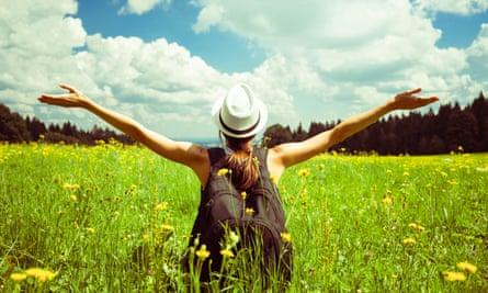 Young female enjoying the beautiful outdoors