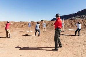 'Gunfighting 101 for Teachers', a course taught by Rowdy Reeve and Brett Pruitt at a gun range in Hurricane, Utah.
