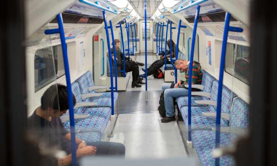 A carriage full of late night sleepyheads on the Victoria Line.
