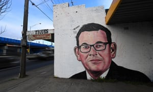 A mural painting of Victorian Premier Daniel Andrews in Melbourne, Australia, 12 August 2020.