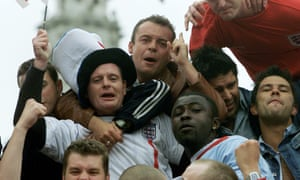 Paul Gascoigne celebrates with fans in Trafalgar Square in 2002.