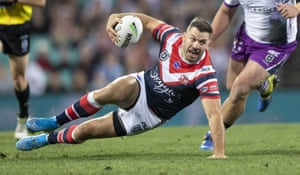 James Tedesco of the Roosters during the NRL Preliminary Final match between the Sydney Roosters and Melbourne Storm at the SCG.