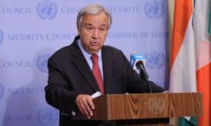 United Nations secretary-general Antonio Guterres in New York two days ago.