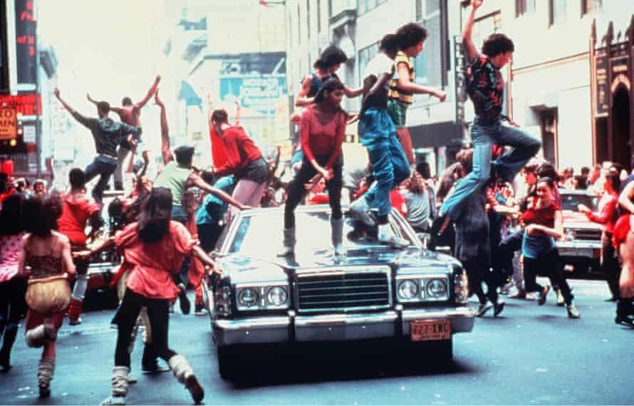 Woolly jumpers … the kids from 1980's film Fame take legwarmers out into the streets.