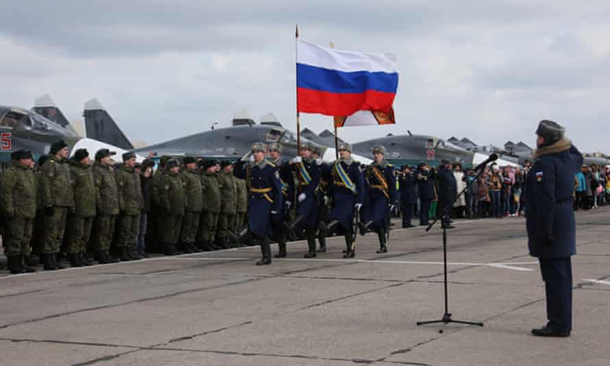 A parade at a Russian airbase after the return of warplanes and personnel from Syria