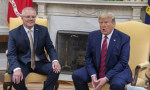 Mueller help: Scott Morrison and Donald Trump during the Australian prime minister's visit to the US.