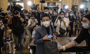 Maria Ressa, editor and CEO of Rappler, leaves a regional trial court after being convicted for cyberlibel on 15 June 2020 in Manila, the Philippines