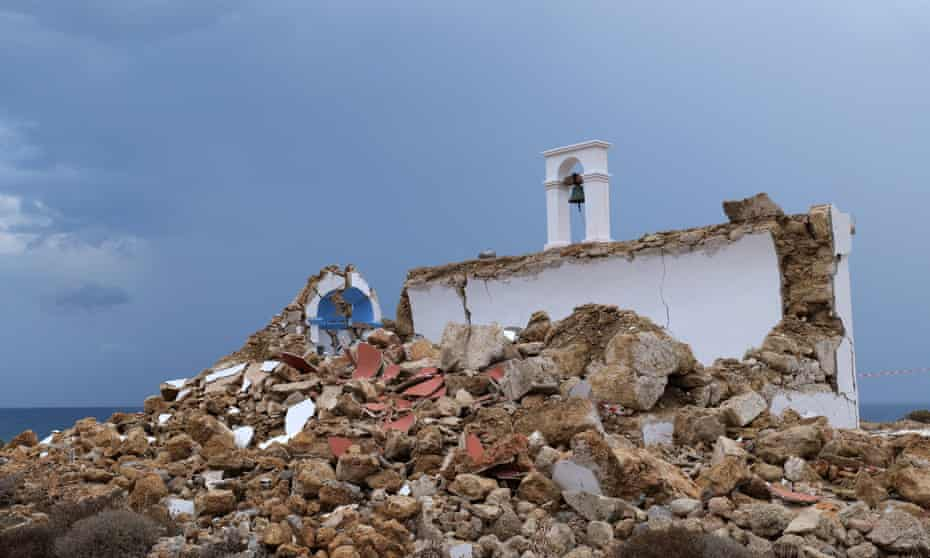 A damaged church is seen in Xerokampos village, near Sitia, after a strong earthquake measuring 6.3 on the Richter scale shook Crete island, Greece.