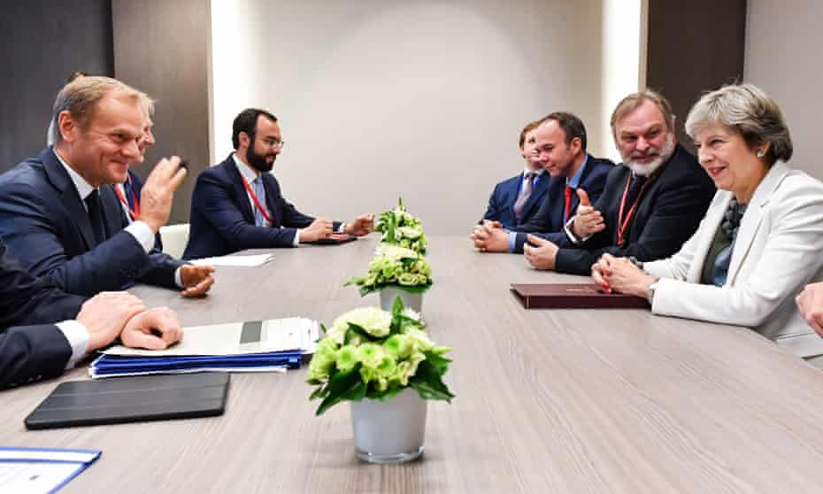 British Prime Minister Theresa May and European Council President Donald Tusk (L) participate in a bilateral meeting during an EU summit in Brussels.