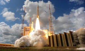 Ariane Flight VA233 carrying four European Galileo navigation satellites launches November 15, 2016 in Kourou, French Guiana.