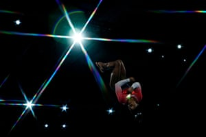 America's Simone Biles performs on the floor during the women's team final at the artistic gymnastics world championships in Stuttgart, Germany.