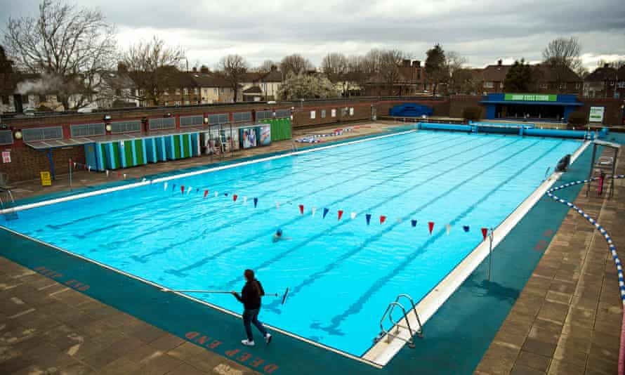 Pre-opening cleaning of Charlton Lido, in south London.
