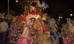 Young women in colourful costumes at the Carnival Parade, Funchal, Madeira