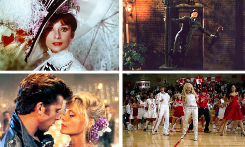 Clockwise: My Fair Lady, Singin in the Rain, High School Musical and Grease 2.