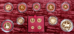 A set of gold coins minted for the Queen's jubilee in 2002.