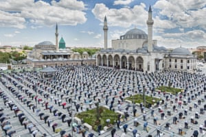 Muslims perform Friday prayers while maintaining social distance and getting used to living with Coronavirus. Konya, Turkey