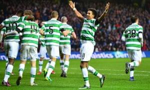 Scott Sinclair celebrates after scoring Celtic's winner.
