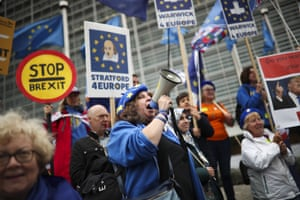 Brussels, Belgium. Anti-Brexit protesters outside the European Commission HQ