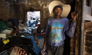 James Chauke photographed at home in an abandoned house in Soper Street, Berea, central Johannesburg.