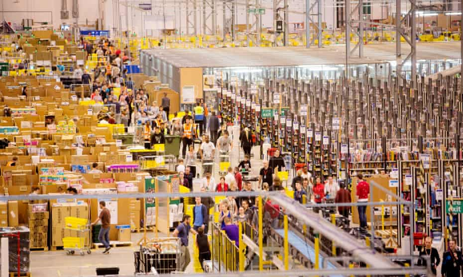 Workers at the Amazon fulfilment centre outside Peterborough.