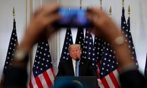 Donald Trump holds a news conference at the United Nations in New York