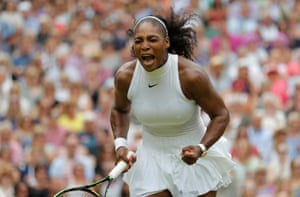Serena Williams celebrates during her victory over Germany's Angelique Kerber in the women's singles final at Wimbledon