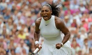 Serena Williams celebrates winning the women's singles final at Wimbledon 2016.