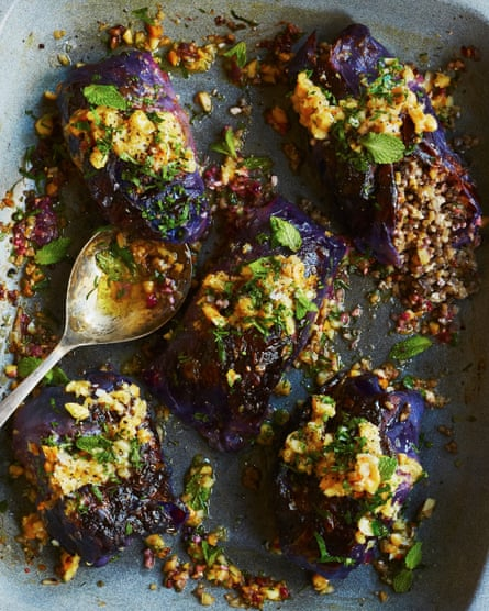 Meera Sodha's vegan red cabbage parcels with macadamias, mushrooms and chestnuts