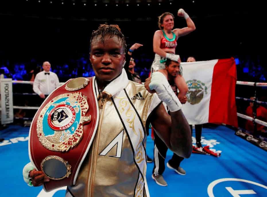 History … Nicola Adams and women's world flyweight opponent Maria Salinas.
