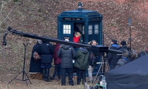 Jodie Whittaker and Tosin Cole during filming in south Wales