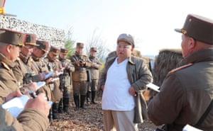 North Korea: Kim Jong-un inspects a Korean People's Army drill