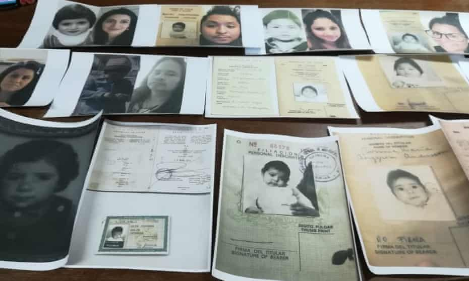 Maria's baby photograph among other adoption papers.