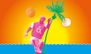 Composite of footballer Thierry Henry with palm tree and coconut, against background of orange sky and blue sea