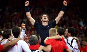 Great Britain's Andy Murray is mobbed by his team-mates