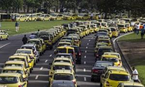 Rio de Janeiro cabbies protest against Uber.