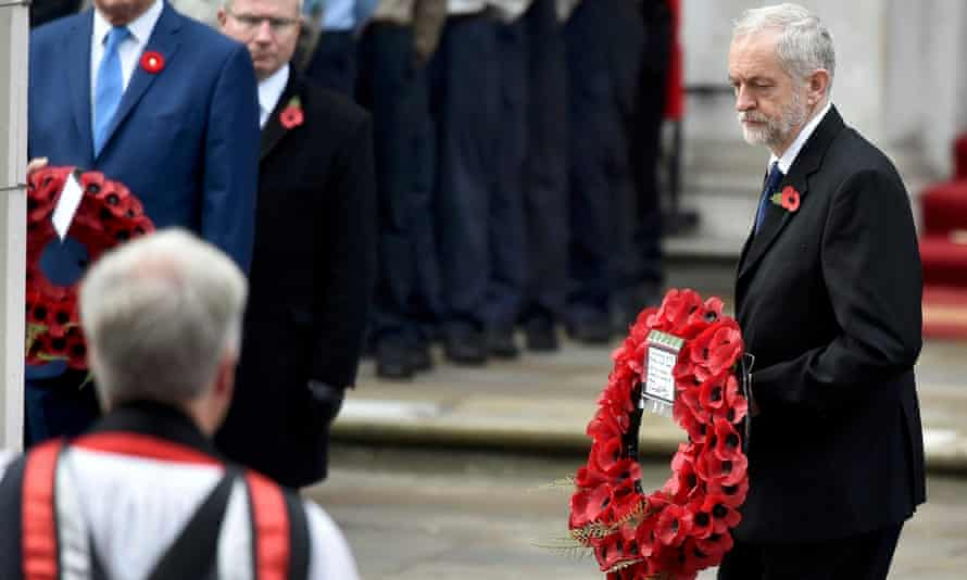 Jeremy Corbyn lays a wreath of poppies at the Cenotaph.