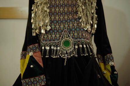Intricate embroidery on one of Hasina Aimaq's creations.