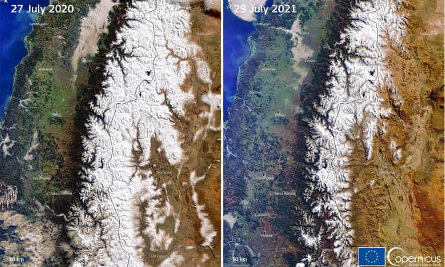 Satellite images show the decrease in snow levels on the Andes mountain range between Ecuador and Argentina