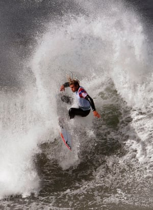Ricardo Christie of New Zealand surfs during the heats of the Rip Curl Pro at Bells Beach.