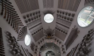 Hall of Steel, as seen from above, at Royal Armouries Museum, Leeds, UK.