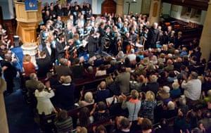 A standing ovation for Ian Bostridge, the Cumnock Tryst Festival Chorus, Edinburgh Quartet, Dalmellington Band, conductors James MacMillan and Eamonn Dougan et al.