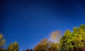 Starlink satellites in the night sky