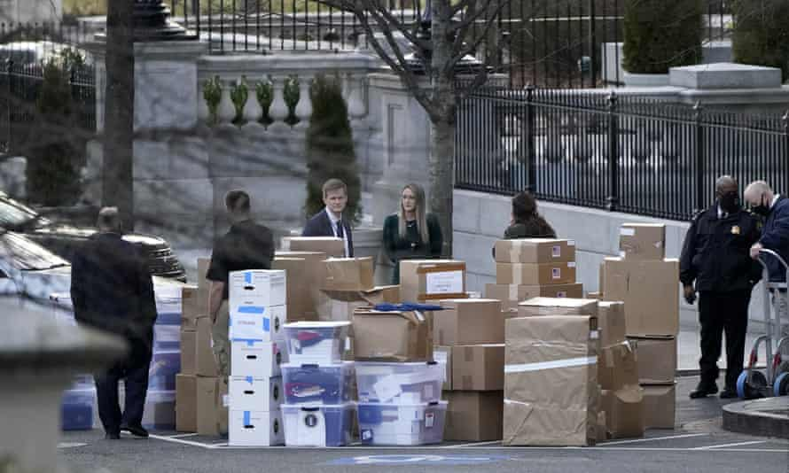 Stacks of boxes taken out of the White House complex on Thursday