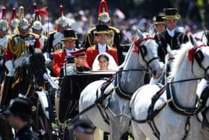 The carriage, drawn by four horses, is so called because it's used by The Queen at Royal Ascot every year