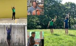 Haiku-like … Mark Morris Dance Group perform Empire Garden, set to an Ives trio, played by Yo-Yo Ma, centre.